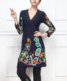 Another great find on #zulily! Blue Floral Surplice Dress by Reborn Collection #zulilyfinds