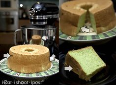 A tried and tested pandan chiffon cake recipe developed over several months of experimentation. This detailed recipe has everything you ever need to know! Pandan Chiffon Cake, Pandan Cake, Fluffy Chiffon Cake Recipe, Beautiful Cakes, Amazing Cakes, Western Food, Biscuit Cake, Piece Of Cakes