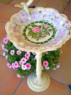 mosaic birdbath in lavendar & distressed base!! YES!!