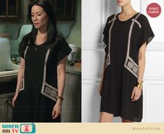 Joan's black embroidered dress on Elementary.  Outfit Details: http://wornontv.net/32218/ #Elementary