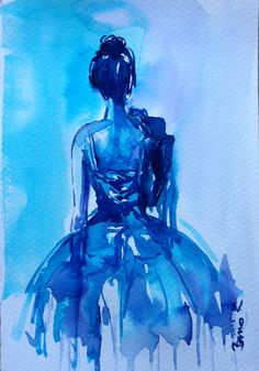 ballet dancer in blue Konrad Biro watercolor art