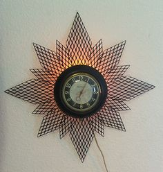 "VINTAGE ART DECO CLOCK WITH LIGHT, STYLE OF SNOWFLAKE, STAR BY MASTERCRAFTER | eBay    (Fun to ""make"" this one!)"