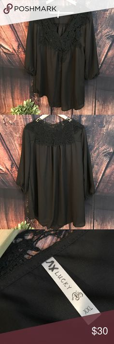 Lucky Brand Embroidered 3/4 sleeve top Gorgeous 3/4 sleeve black embroidered top. XXL Lucky Brand Tops