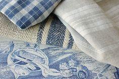 Antique Vintage French Fabrics Materials Project Bundle Blues Hemp | eBay