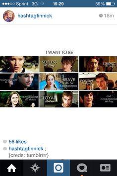 Katniss Everdeen, Harry Potter, Clary Fray, Peeta Mellark, Tris Prior, Augustus Waters, Hermione Granger, Four/Tobias Eaton and Percy Jackson.