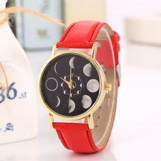 Hot sun eclipse moon pattern quartz watch fashion accessories neutral pu belt boys and girls watches #Affiliate