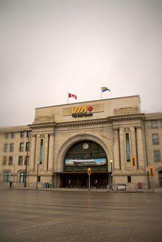 Via Rail Canada on a cloudy day @ Main Street, Winnipeg, Manitoba
