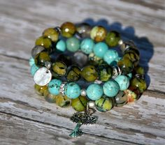 Turquoise and Green Bracelets