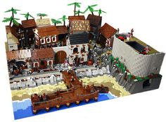 Huge Pirate Town - Pirates of the Caribbean - contest :: Other. This is my entry in to the Pirate Town category of the Jolly Roger III contest. Construction Lego, Pirate Island, Lego Videos, Lego Display, Lego Army, Lego Modular, Lego Castle, Cool Lego Creations, Lego Projects