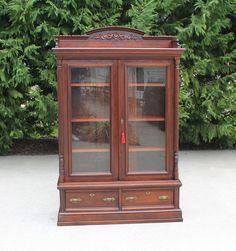 Petite Eastlake Victorian Walnut Stepback Bookcase w Gallery & Key c1880  #Victorian
