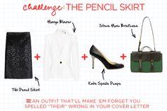 white blazer + black pencil skirt
