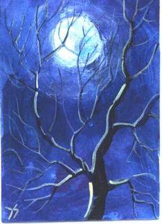 "Listed last night on eBay.  ""Tree in Moonlight"".  2.5x3.5"" miniature acrylic painting."