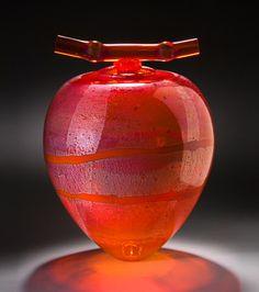 Cherry Red Wishpot - Art Glass Vessel - by Geoff Lee