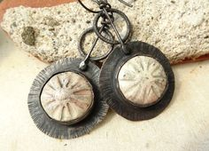 Rustic Ceramic Raku Button Copper Earrings by annamei on Etsy