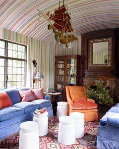 Jeffrey Bilhuber Tuxedo Park Home - Decor With Pattern Mixing - ELLE DECOR -->Ship chandelier