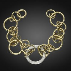 18k Yellow and White Gold Tempia Bracelet with Diamonds