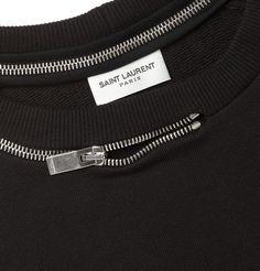 Sweatshirt neckline with decorative zipper feature - creative sewing ideas; fashion design detail // Saint Laurent