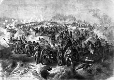 The Saxon artillery holds out for Prussia against superior Austrian forces at Koniggsgratz, 1866