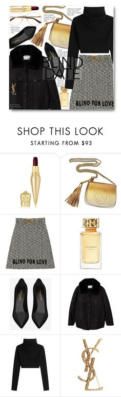 """Blind Date Look Black And Gold"" by voguefashion101 ❤ liked on Polyvore featuring Christian Louboutin, Gucci, Tory Burch, Yves Saint Laurent, Acne Studios, Valentino, gucci, likesforlikes, 2017 and blinddate"