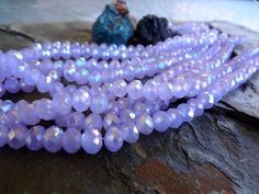 Faceted Crystal Puffy Rhondelle, Opaque Lavender AB, 8mm, 35 Pieces Per Strand by DragonflyBeadsStudio on Etsy