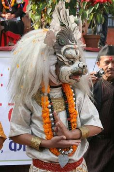 Newari dancer with Narasimha mask, Nepal