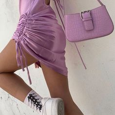 staying in and dressing up . Purple Aesthetic, Aesthetic Fashion, Aesthetic Clothes, Style Outfits, Summer Outfits, Cute Outfits, Fashion Bags, Fashion Outfits, Fashion Trends