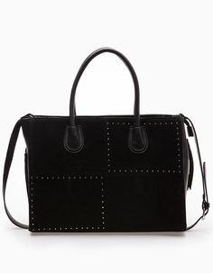 Tote bag with stud trim