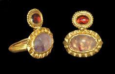 Gold Amethyst and Garnet Double-Bezel Ring, Roman, 4th century A.D.