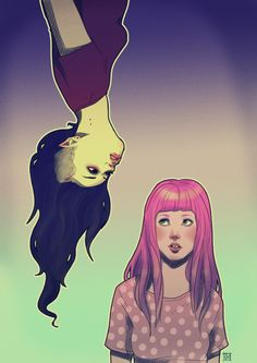 Marceline and Princess Bubblegum fanart. I feel like this is the cutest/most realistic Bubbeline fanart ever, and I absolutely ADORE it!