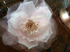 Pink and gold silk hair flower, customized by One World Designs Bridal Jewelry