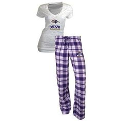 Baltimore Ravens Super Bowl XLVII Champions Ladies Burnout V-Neck T-Shirt & Flannel Pant Set - White/Purple