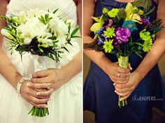 Bride  bridesmaid boquets for a blue wedding.