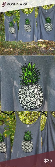 🍍Heather grey pineapple tank tops🍍 Easy care, flowy, soft tanks with an adorable pineapple gracing the front. Who doesn't love a pineapple? A Hawaiian symbol of hospitality, it would make a great  gift for someone you love or yourself! SoShelbie Tops Tank Tops