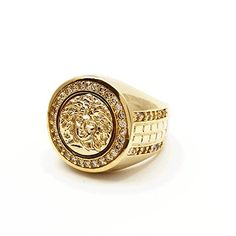 Gold CZ Iced Out Mens Hiphop Micro Pave Medusa Head Vintage Fashion Ring 16MM 8 ** Check out the image by visiting the link.