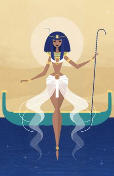 """Starting 2016 off with an Egyptian creation goddess! ♡ Nun (Nu), or Nunet as the female aspect, meaning """"abyss"""" and represents the primordial waters. The Ancient Egyptian creation myth accounts for the first mass of land coming forth from the chaotic. Art And Illustration, Fantasy Kunst, Fantasy Art, Egyptian Art, Egyptian Goddess, Egyptian Queen, Egyptian Mythology, Egyptian Drawings, Egyptian Beauty"""