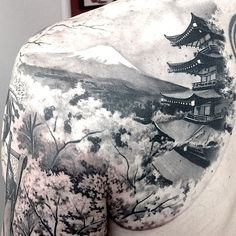 Discover unique architecture ink with the top 50 best Japanese temple tattoo designs for men. Explore cool Buddhist ink ideas and religious buildings.