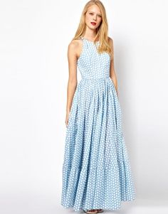 ASOS | ASOS Maxi Dress In Spot Print at ASOS