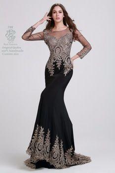 Elegante frisado preto Prom vestidos longos mangas 2014 Custom Made Spandex sereia vestido Formal até o chão vestidos de fiesta