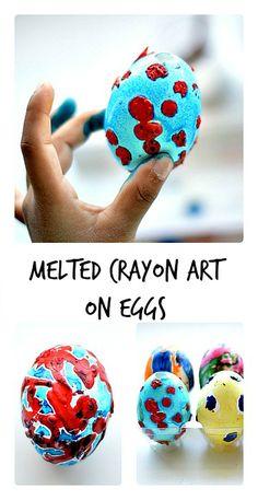 Easter Egg Decorating with Melted Crayon Art. Art Series -3rd installment. #artactivitiesforkids #crayonart #eastercraftsforkids