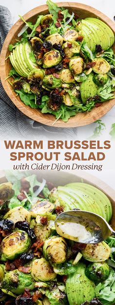 The most delicious Thanksgiving salad! Warm sauteed brussels sprouts, salty bits of bacon, and sweet apple slices with a homemade cider dijon dressing. This healthy salad has layers of flavor and will pair perfectly with your favorite family meal! | asimplepalate.com #salad #thanksgiving #brusselssprouts #applesalad #sidedish