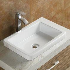Vanitesse Semi Recessed Ceramic Porcelain Rectangle Drop-in Bathroom Sink renovieren Vanitesse Ceramic Rectangular Drop-In Bathroom Sink Drop In Bathroom Sinks, Drop In Sink, Wall Mounted Bathroom Sinks, Undermount Bathroom Sink, Chic Bathrooms, Bathroom Storage, Modern Bathroom, Bathroom Cabinets, Master Bathroom