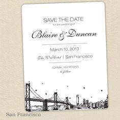 San Francisco SAVE THE DATE. $5.00, via Etsy.