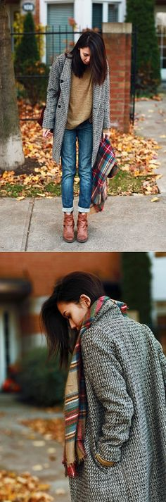 Tweed boyfriend coat + rolled up jeans = winter uniform