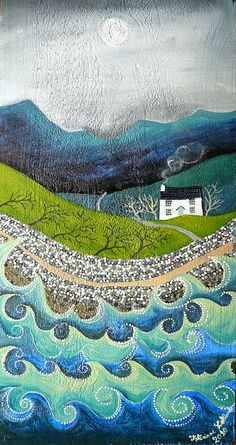 mosaic waves and landscape, valeriane leblond