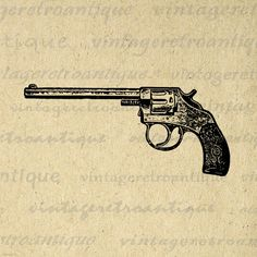Western Revolver Gun Digital Image Download Pistol Graphic Printable Antique Clip Art. Vintage printable digital graphic for fabric transfers, making prints, and many other uses. Real antique art. For personal or commercial use. This digital image is high quality at 8½ x 11 inches large. A Transparent background png version is included.