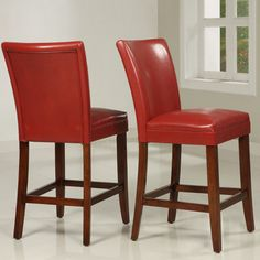 @Overstock - Bring these red counter-height chairs into your home to add a touch of class and elegance to your bar, kitchen, or bistro area. The Asian rubber wood frames and faux leather seats make these chairs stand out while also providing comfortable seating.http://www.overstock.com/Home-Garden/Charlotte-Faux-Leather-Counter-height-Chairs-Set-of-Two/4302141/product.html?CID=214117 $141.04