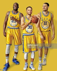 Portrait of Golden State Warriors (L-R) forward Draymond Green point guard  Stephen Curry and shooting guard Klay Thompson during photo shoot at  Sheraton ... 5dbbb422b
