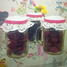 Red Velvet Cookies in a jar #buttercupbungalow #redvelvetcookies