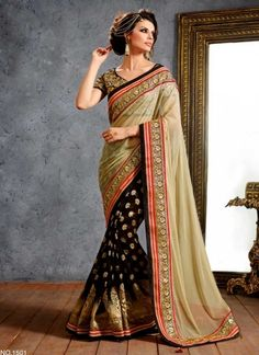 Classy Cream And Black Pure Viscose Jacquard With Half Net Party Wear Saree http://www.angelnx.com/Sarees/Designer-Sarees