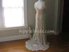 One of a Kind, handmade dress by Hippie Bride in Atlanta. Made with mostly handmade vintage crochet laces. Vintage Lace Weddings, Bohemian Wedding Dresses, Vintage Crochet, Crochet Lace, Hippie Bride, Boho Plus Size, Handmade Dresses, Headpiece, Atlanta